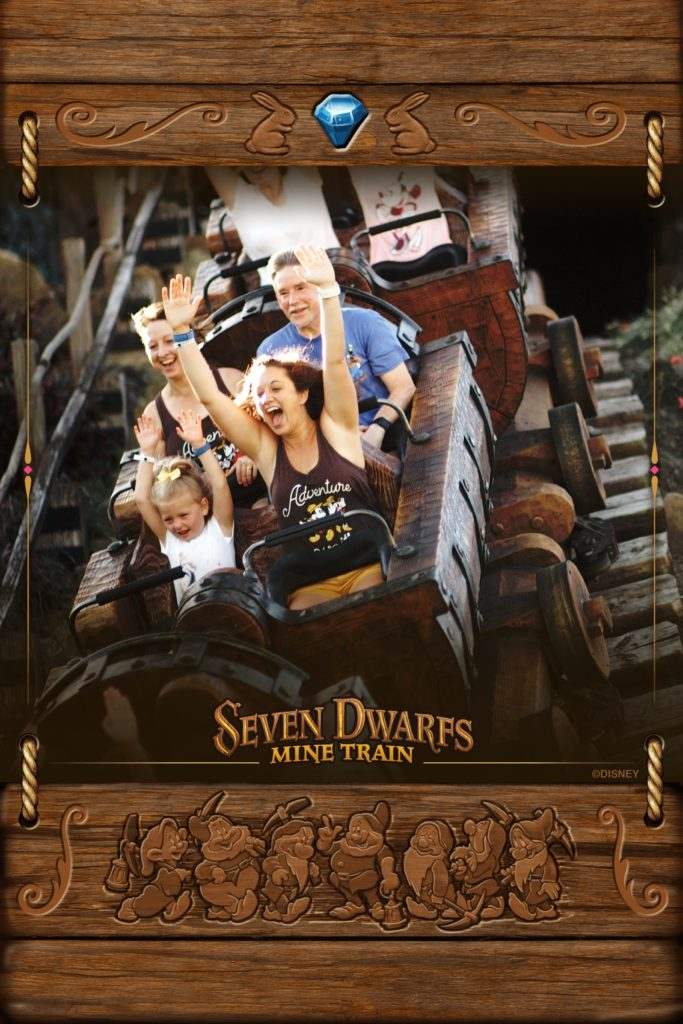 Your courage is contagious. My niece and I on the Seven Dwarfs Mine Train ride at Disney World.